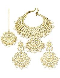Karatcart 22K GoldPlated Traditional Kundan Pearl Choker Jewellery Set for Women
