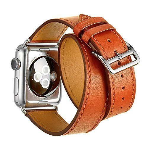 Apple Watch Banda - Trop Saint® (42mm) Pulsera de Cuero Genuino Para Apple Reloj - Marrón - Correa de Lujo Con Cerradura de acero inoxidable, Wristband Strap