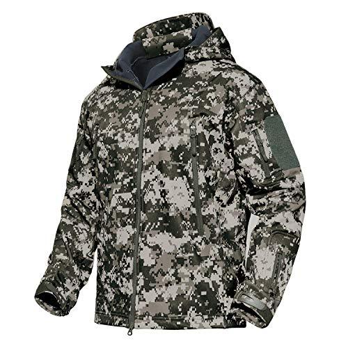 KEFITEVD Herren Softshell Funktionsjacke wetterfest atmungsaktiv Fleece-Futter Jacke warm Alltag Angeln Jäger Ski ACU S (Etikett: M) -