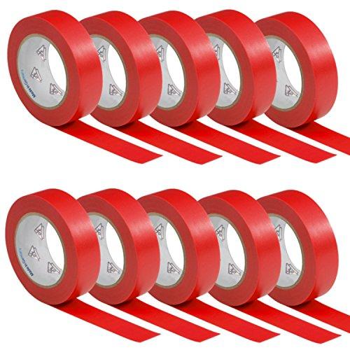 10 Rollen VDE Isolierband Isoband Elektriker Klebeband PVC 15mm x 10m DIN EN 60454-3-1 Farbe: rot