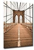 Bild auf Leinwand Brooklyn Bridge Größe: 60cm x 90cm | New York Seile Brooklyn Bridge Sepia USA | Aus der Serie NEW YORK NEW YORK | Farbe: sepia | Rubrik: new-york + Städte