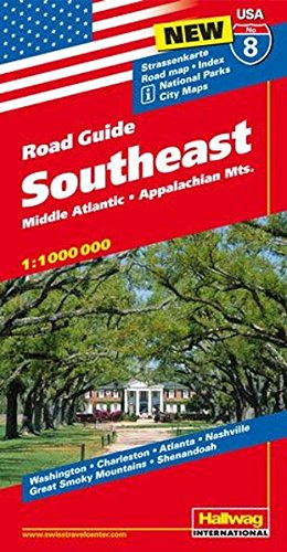 hallwag-usa-road-guide-08-southeast-1-1-000-000-middle-atlantic-appalachian-mts-strassenkarte-road-m