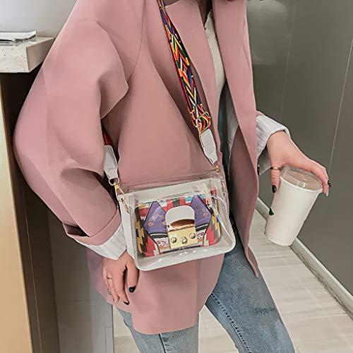 Rucksack Sportbeutel, Schultasche Schulrucksack Jungen Teenager Laptop Camping Zubehör Damen Schultergurt,Frauen Wild Messenger Bag Transparent Jelly Bag Umhängetasche(Weiß) -