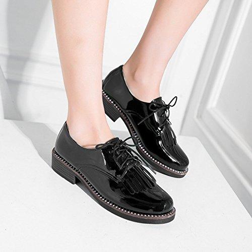 COOLCEPT Femmes Mode Lacets Escarpins Black