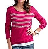 Damen Pullover mit Strass-Streifen by Alba Moda Green