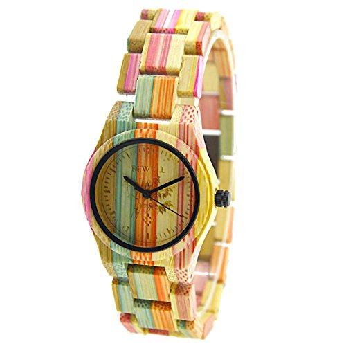 bewell-w105dl-femmes-vert-modulable-eco-bambou-montre-montres-de-poignet-leger-colours-2
