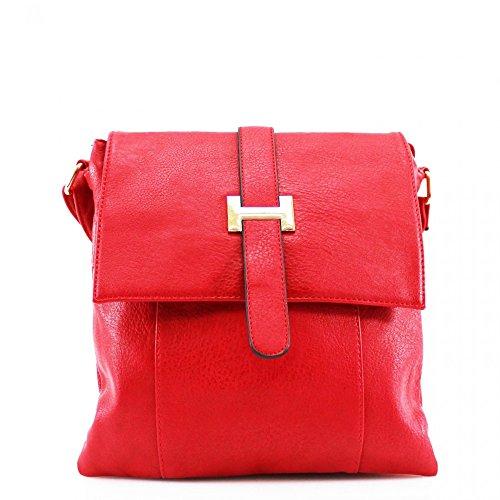 LeahWard® Damen Mode Essener KleinQualität Kunstleder Kreuzkörper Bote-Taschen CW946 Rot H28cm x W25cm x D10cm