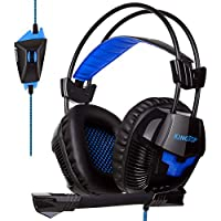 KingTop Cuffie Gaming Per PS4 Xbox OneS Cuffie Stereo Da Gaming Con Microfono Pieghevole Per PCGame VideoGame Tablet PC Cellulari Cuffie Da Gioco Con Cavo Headset Gaming Wired Nero Blue