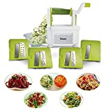 Twinzee. Cortador de verduras en espiral, con 4 cuchillas intercambiables, diseño innovador, para un almacenamiento óptimo, el mejor cortador para hacer espaguetis, fideo y cintas de frutas y verduras