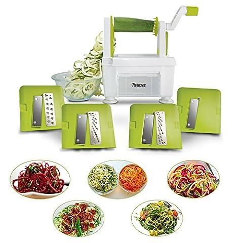 Coupe-légumes spirale twinzee-4 lames interchangeables-design innovant pour un rangement optimisé-le meilleur spiraliseur pour faire des spaghettis,vermicelles,rubans et nouilles de fruits et