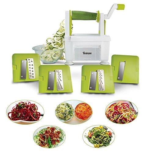 Spiralizzatore per verdure Twinzee - 4 Lame intercambiabili - Design innovativo salvaspazio - Il miglior tritaverdure a spirale per fare spaghetti, vermicelli, nastri e tagliatelle di frutta e verdure.