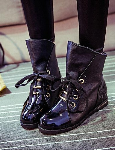 xzz/Damen Schuhe Patent Leder flach Ferse Schnür Bootie-/komfort Stiefel Casual Schwarz, black-us8.5 / eu39 / uk6.5 / cn40 (Leder-booties Patent)
