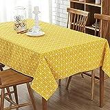 GWELL Leinen Tischdecke Eckig Abwaschbar Tischtuch Pflegeleicht Schmutzabweisend 7 Farbe & 10 Größe wählbar gelb 140*220cm