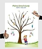 Herzl-Manufaktur Schulanfang Fingerabdruckbaum Fussball Junge Leinwand personalisiert 30x40cm Zuckertütenbaum Gästebuch Schuleinführung