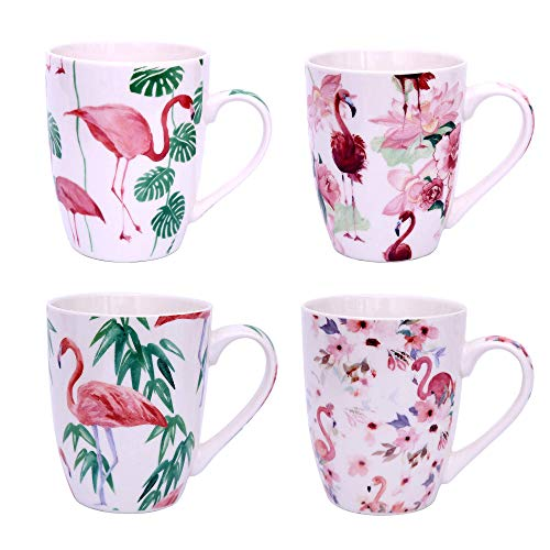 Flamingo Tasse 4er Set Kaffeetassen Kaffeebecher 300ml feine Henkeltasse in hochwertiger Qualität (Design 1)