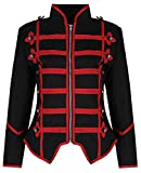 Womens Black Red Military Parade Emo Punk Drummer Jacket