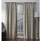 Exclusive Home Vorhänge Damast Medaillon schwere Chenille Jacquard Verdunkeln Rod Pocket Fenster Vorhang Panel, Taupe, 52x Beton, Set von 2