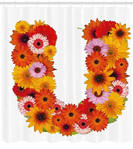 BUZRL Letter U Shower Curtain, Pink Orange Yellow Wildflowers Warm Season Plants Romantic Arrangement Letter U, Fabric Bathroom Decor Set with Hooks, 60W X 72L Inche Long, Multicolor