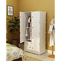 Koossy Expandable Clothes Closet Wardrobe Cupboards Armoire Storage Organizer with Doors, Capacious & Sturdy 8 Cube White, 75 x 47 x 147 cm