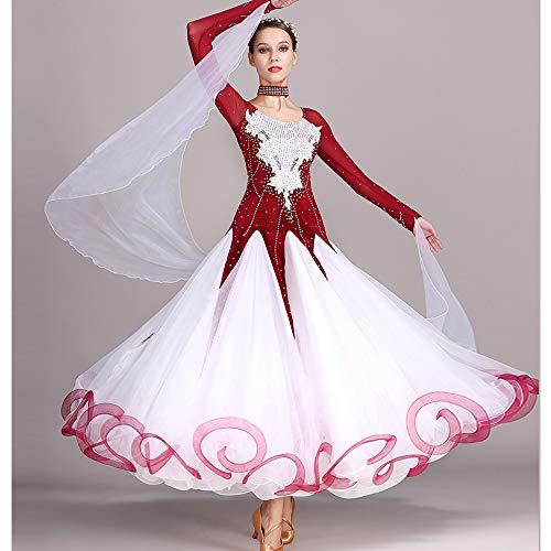 QMKJ Frauen Latin Dance Kostüme Bauchtanz Rock rot handgemachte Pailletten Ballroom Dancing Kostüme Full Rock Hemden Moderne Mode 2018 XL 2XL,S