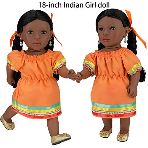 VNEIRW 18 inch Lebensecht Schwarze Puppen Mädchen Waschbar Reborn Babypuppe Realistische Indische Puppe mit Schwarzes Flechten Haar und Kleid (Gelb)