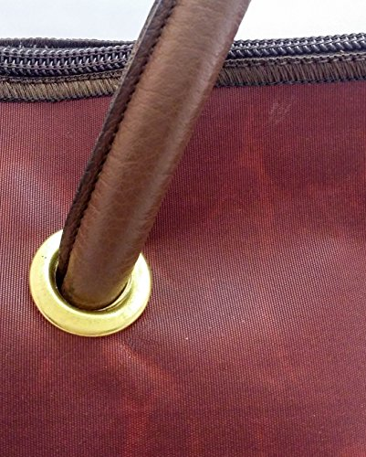 Memme vela marrone: Borsa donna in vela riciclata marrone con pelle o pelliccia, manico in pelle o ecopelle cognac