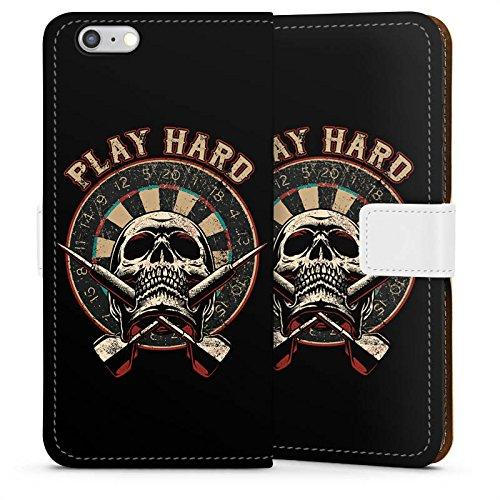 DeinDesign Tasche kompatibel mit Apple iPhone 6 Leder Flip Case Ledertasche Dart Totenkopf Play Hard -