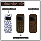 SKYSHOP New 2019 Soyes W9 Mini Smallest Thinnest Low Radiation Wooden Design Cute Keypad Mobile Phone (Blue and White Porcelain)