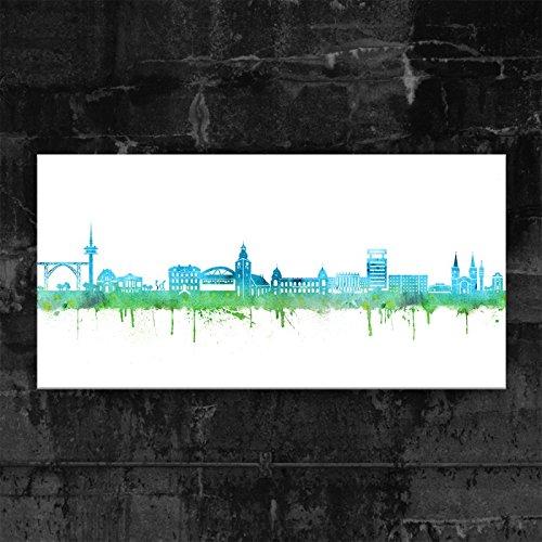 Kunstbruder Wuppertal Skyline - Blau (div. Größen) - Kunst Druck auf Leinwand 30x60cm