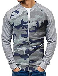BUSIM Men's Long Sleeve Jacket Camouflage Zip Jacket Autumn Casual Long Sleeve Slim Pocket Baseball Jersey Sweatshirt...