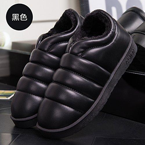 DogHaccd pantofole,Inverno di cotone femmina pantofole home home interno coppie maschio camera ha un antiscivolo caldo impermeabile spesse pantofole di cotone con il pacchetto Tutto nero3