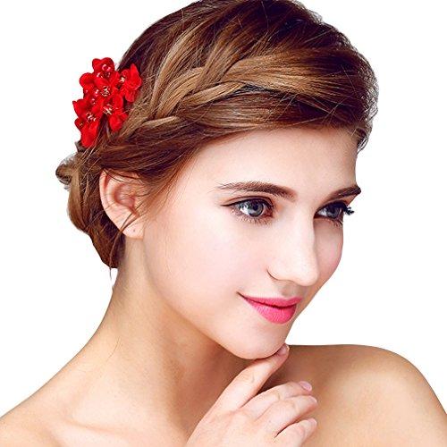 YAZILIND Delicada Boda Tocado Nupcial Cabello Peine de Encaje Flores Cubic Zirconia  Accesorios para Mujeres y b8baf524a9e5