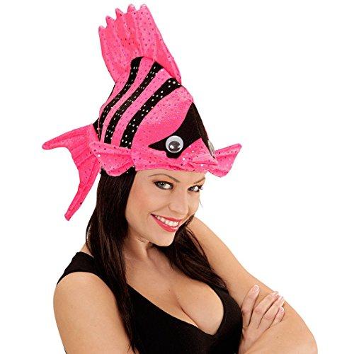Lustige Fischmütze Tropen Fischhut pink Fisch Hut Mütze Tierhut Tiermütze Fisch...