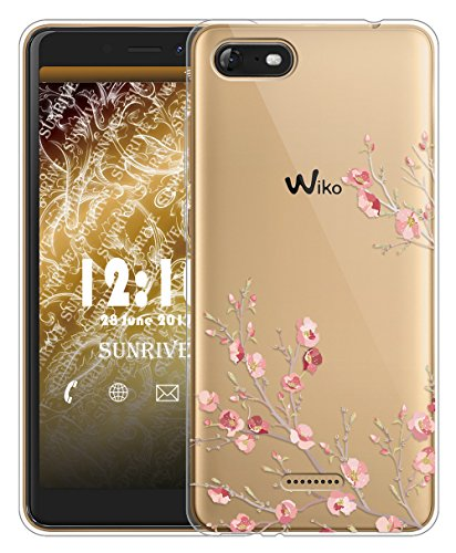 Sunrive Für Wiko Tommy 3 Hülle Silikon, Transparent Handyhülle Schutzhülle Etui Case für Wiko Tommy 3(TPU Blume)+Gratis Universal Eingabestift