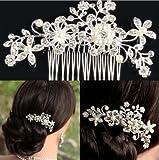Haarkamm / Brautschmuck / Haarschmuck / Accessoire der Marke BingQing–im Vintage-Stil mit Kristallen und Perlen, für Hochzeiten–Hua01