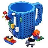 Kyonne Build-on Brick Mug, Tazza da Colazione, Idee Regalo per Natale Originali (blu)