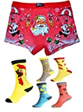 Mens Christmas Boxer Shorts Festive Xmas Trunks Underwear Santa Printed Novelty Brief Shorts (Medium - GiftPack, 1x Red + 3x Socks)