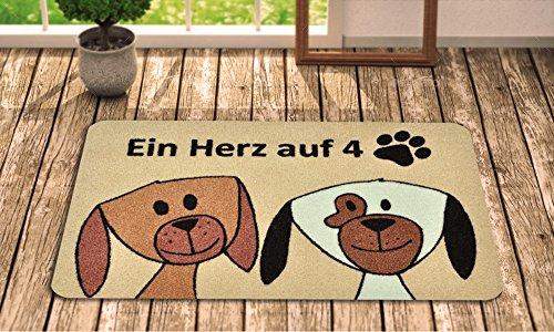 Fußmatte Hund – Fussmatte Innen rutschfest und waschbar – Schmutzfangmatte / Fussabtreter / Fussabstreifer 40x60 cm