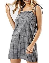 Frauen Gingham Prüfungs-Druck-Sommer-Minikleid Damen