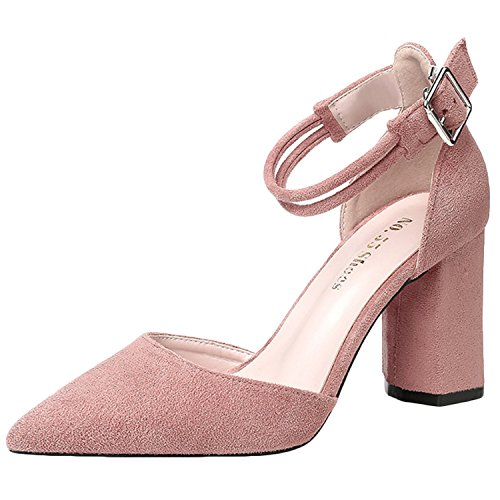 Oasap Women's Pointed Toe Ankle Strap Chunky Heels Solid Sandals Pink
