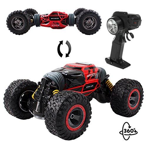 deAO RC Auto Doppio Stunt off-Road Racing Car 2.4GHz Remote Control Monster Crawler Tank Veicolo Doppia Torsion Design (Red)