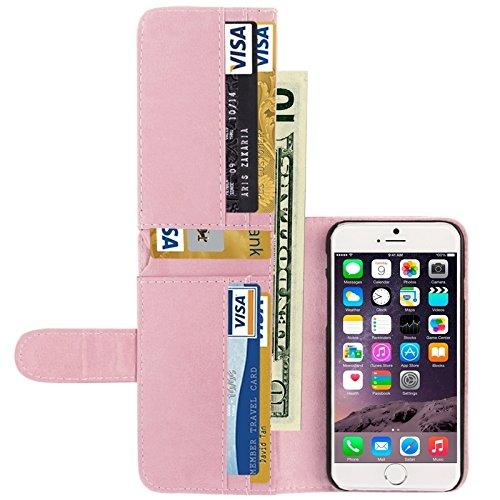 Wkae Case Cover Crazy Horse Texture-Mappen-Art-Leder-Kasten mit Kartenslots für iPhone 6 &6S ( Color : Red ) Pink
