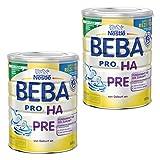 Nestlé BEBA PRO HA Pre, Kindermilch, Babynahrung, Anfangsnahrung von Geburt an, Dose, 2 x 800 g, 12332811