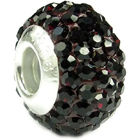 In argento Sterling, con pietra portafortuna per il mese di gennaio colore rosso scuro, in stile europeo, con cristalli, perline e Charm - Cristallo Gennaio Charm