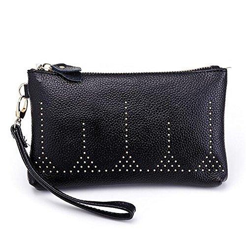 MeiliYH Damen-Stil Ledertasche Damen Mini Handtasche Trend Niet Handtasche Schwarz