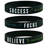 11thGear Success Focus Believe - Bracelet de Motivation en Silicone - Cadeau de Sport pour Elle 2018