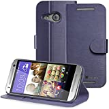 GreatShield® HTC One mini 2 Wallet [SHIFT LX] Draw Bench PU Leather Wallet Flip Stand Case Cover with [Card Pockets] for HTC One Remix / One mini 2 (2014) (Oxford Blue)