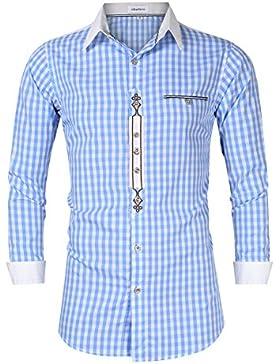 Clearlove Herren Hemd Trachtenhemd Slim Fit Kariert Freizeithemd - für Oktoberfest & Freizeit & Business