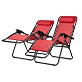 Riviera Multi-Position Relaxer Chairs Red 2 Pack