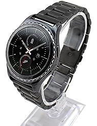 Cuitan 28mm Acero Inoxidable Correa de Reloj para Samsung Galaxy Gear S2 Classic Smart Watch (No se Incluyen los Relojes), Sólido Banda Reemplazo Watchband Strap para Samsung Gear S2 Classic - Negro